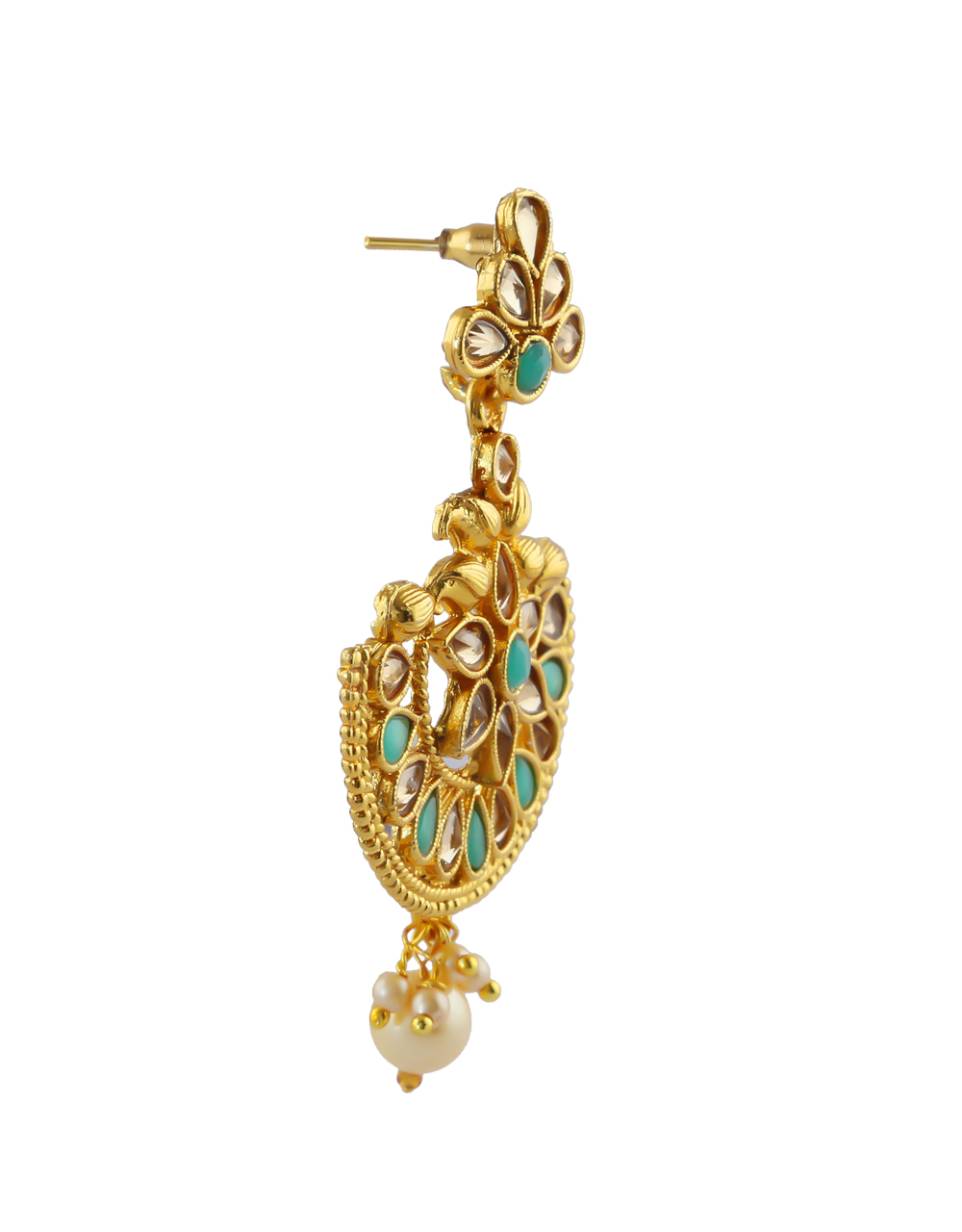 Green Colour Gold Finish Floral Design Stylish Earrings