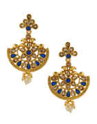 Blue Colour Antique Gold Finish Traditional Earrings