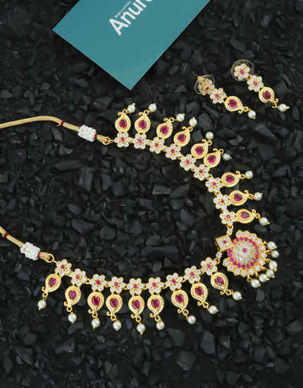Pink Colour Gold Finish Necklace Styled With Pearls Beads Necklace Jewellery