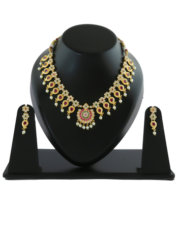 Multi Colour Gold Finish Maharashtrian Jewellery Set