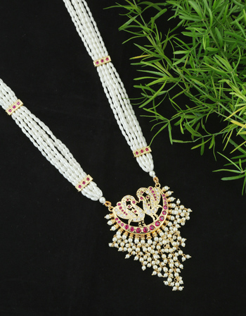 Pink Colour Peacock Design Moti Har Necklace For Maharashtrian Weddings