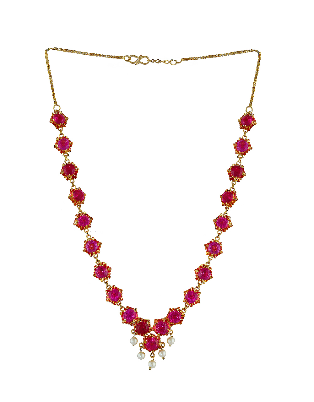 Pink Colour Gold Finish Fancy Wedding Necklace For Women