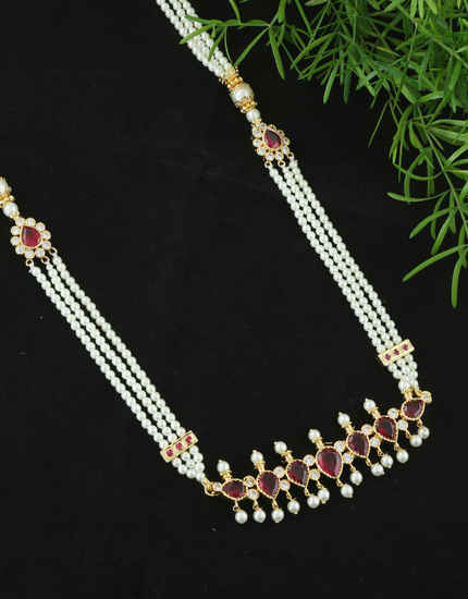 Maroon Colour Gold Finish Necklace Styled With Pearls Beads Fancy Necklace
