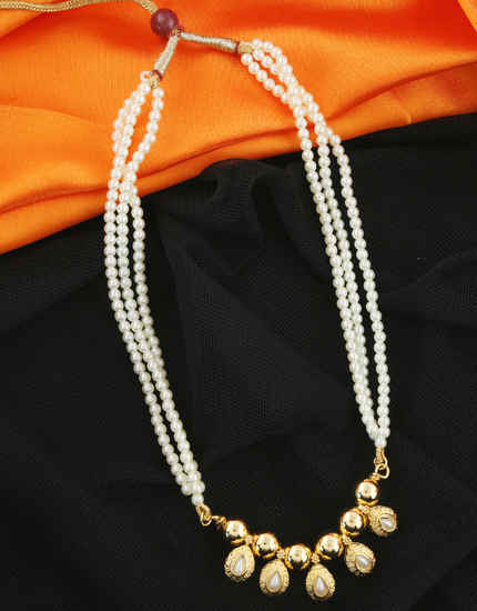 Gold Finish Studded With Pearls Beads Fancy Pendant Necklace