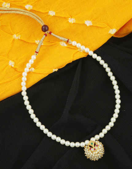 Gold Finish Multi Colour Styled With Pearls Beads Moti Mala
