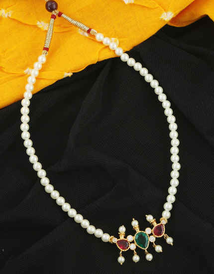 Multi Colour Gold Finish Styled With Pearls Beads Moti Mala