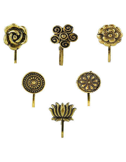 Golden Oxidised Fancy Nose Pin