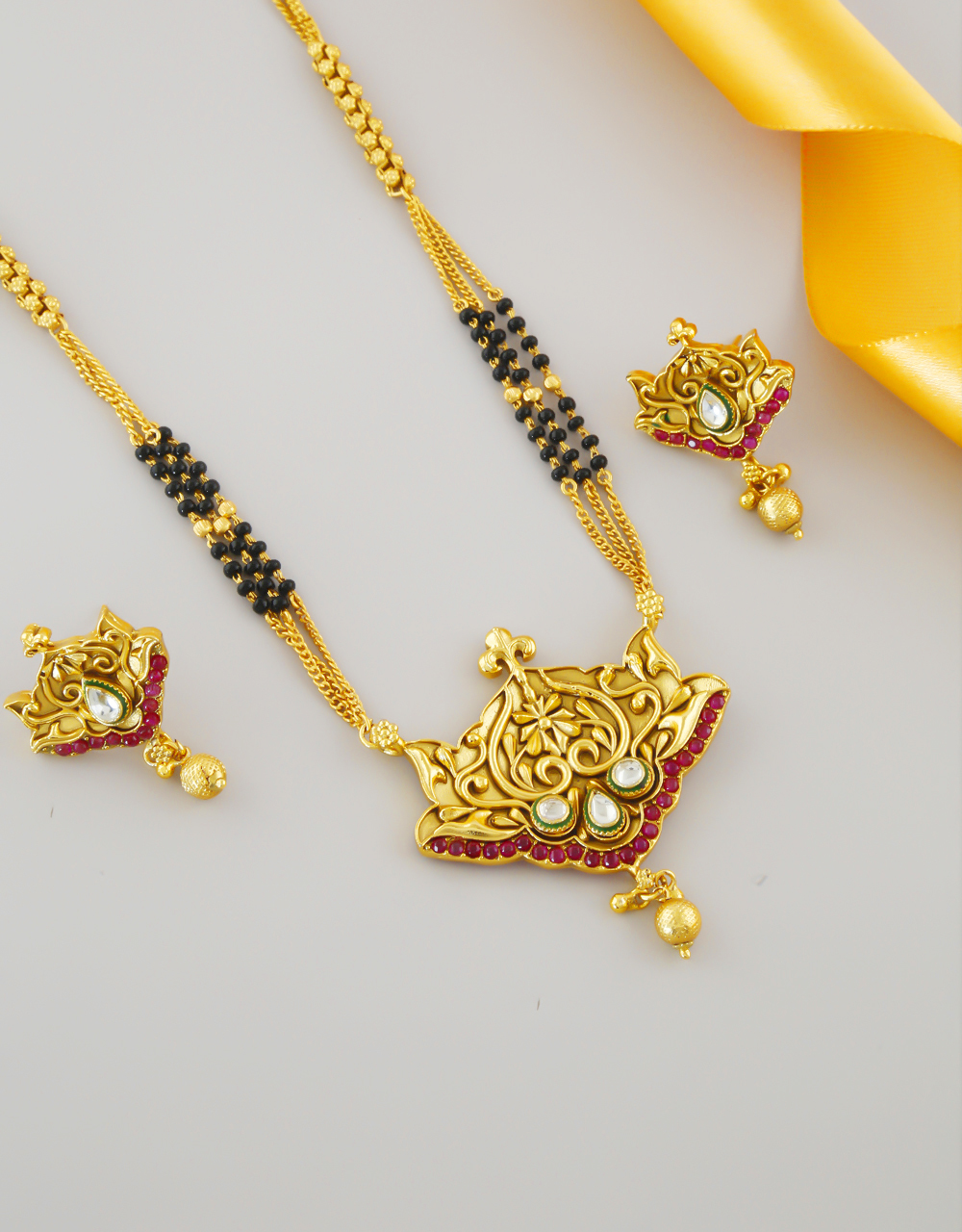Antique Gold Finish Kundan Long Manlsutra For Women
