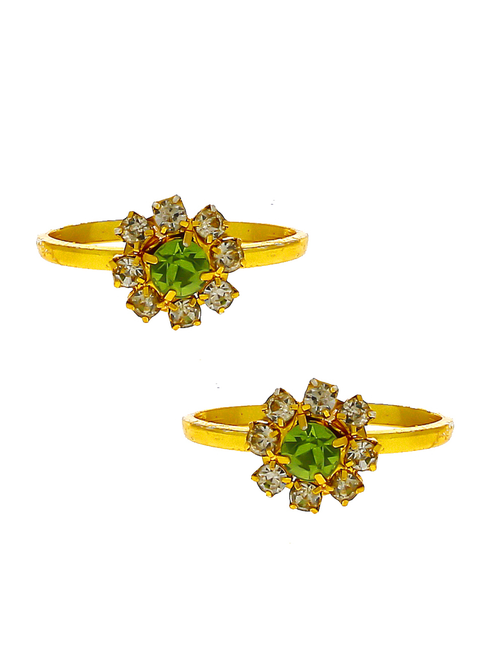 Green Colour Gold Finish Floral Design Stunning Toe Ring