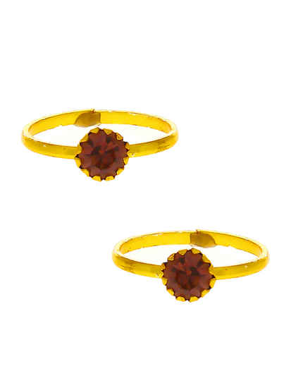 Simple Gold Finish Brown Colour Toe Ring