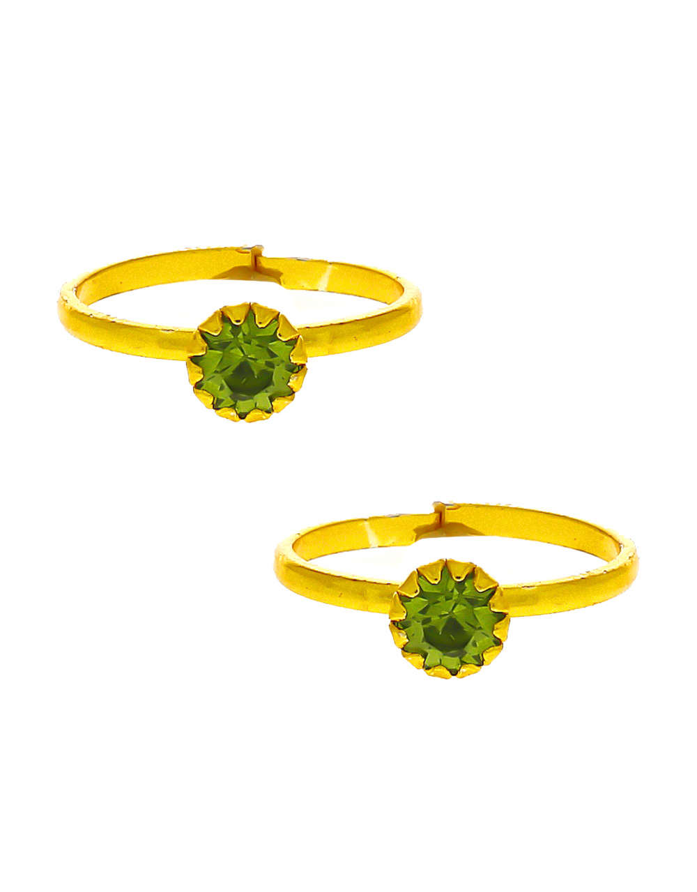 Green Colour Simple Toe Ring Traditional For Women