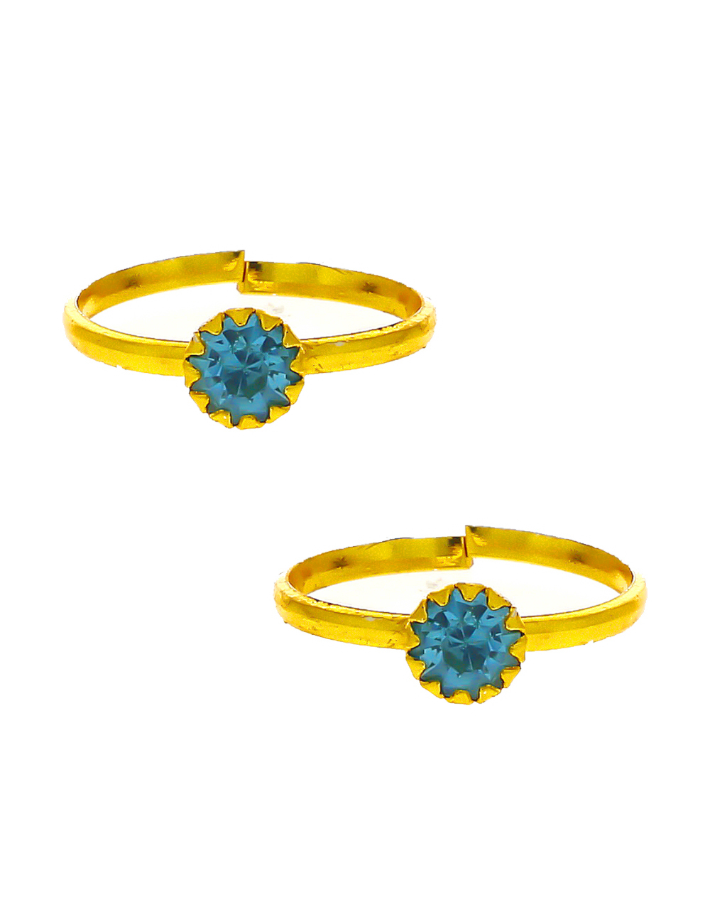 Simple Sky-Blue Colour Gold Finish Daily Wear Toe Ring
