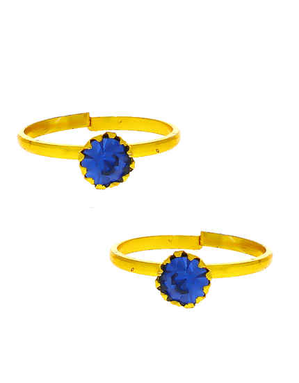 Blue Colour Gold Finish Trendy Daily Wear Bichua Toe Ring