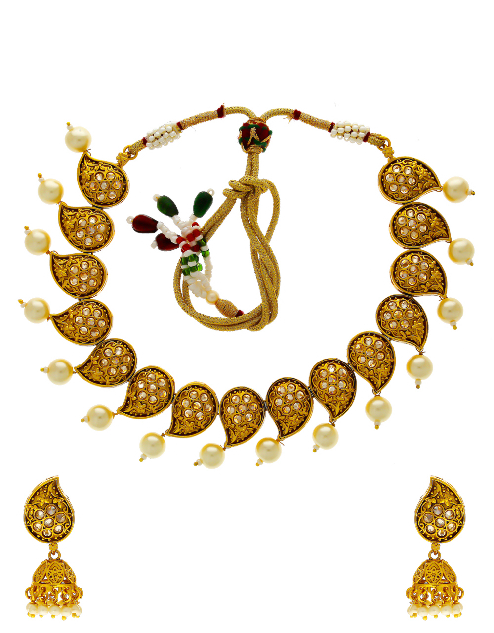 Gold Finish Traditional Necklace Styled With Pearl Beads Fancy Necklace