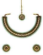 Turquiose Colour Antique Gold Finish Stunning Short Necklace Fancy