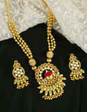 Antique Gold Finish Fancy Traditional Necklace For Girls