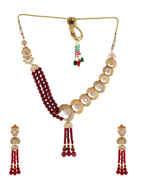 Rose Gold Finish Stylish Studded With American Diamond Fancy Necklace