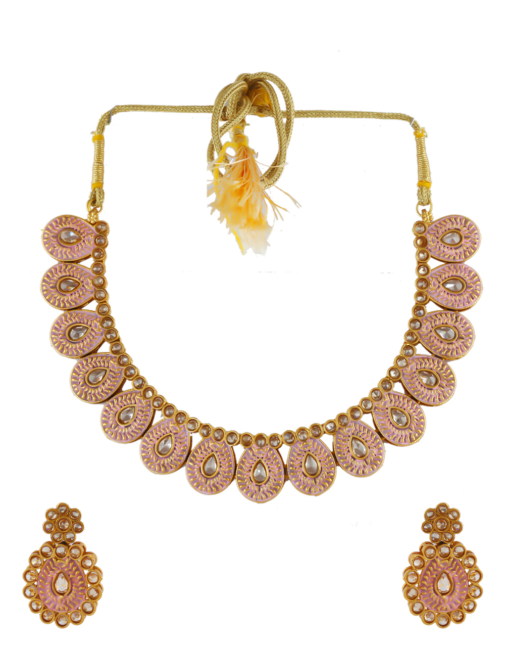 Pink Colour Antique Gold Finish Studded With Stones Necklace Fancy