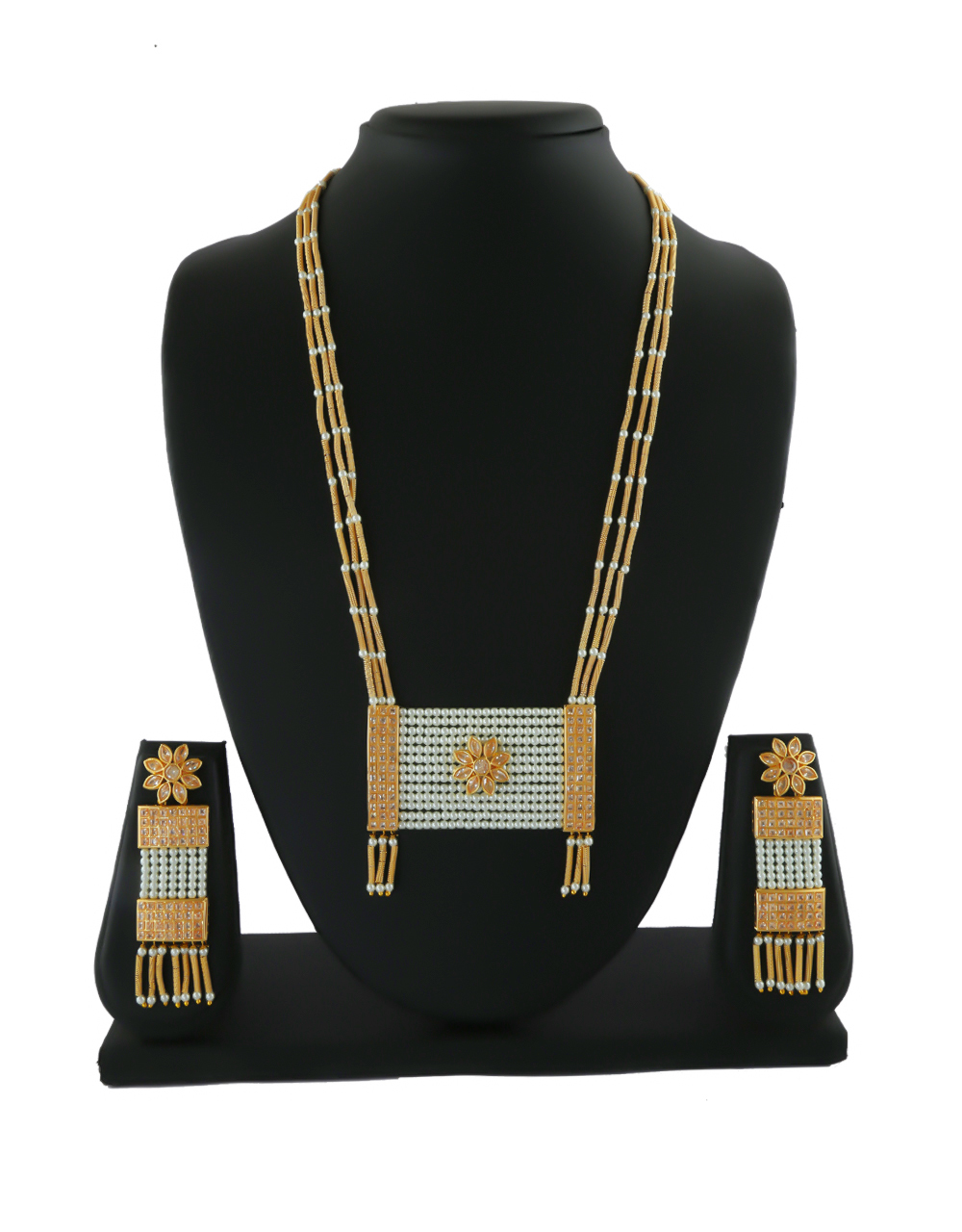 Designer Gold Finish Styled With Pearls Beads Necklace