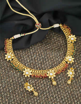 Gold Finish Multi Colour Kundan Necklace For Women Fancy