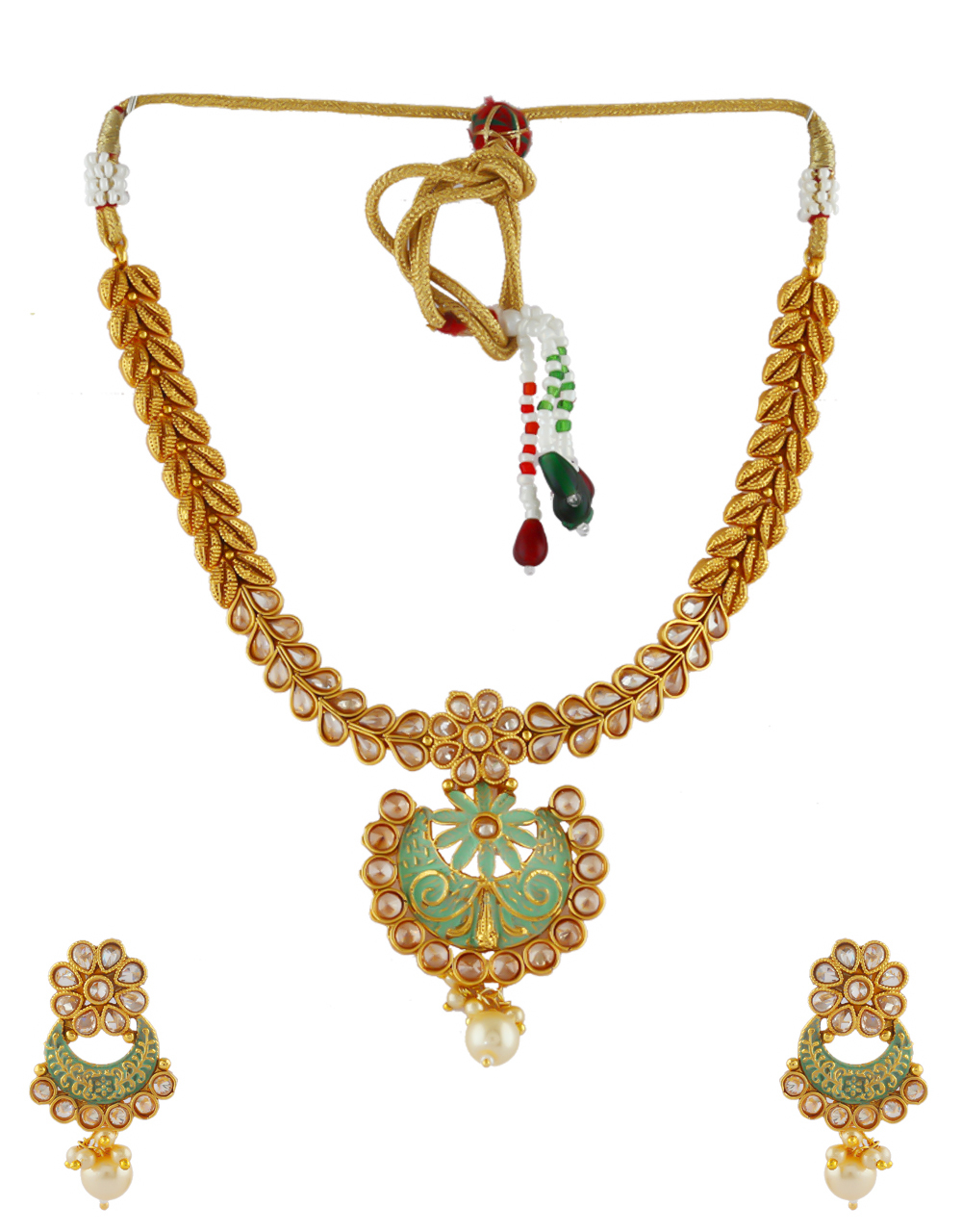 Green Colour Fancy Gold Finish Stunning Traditional Necklace