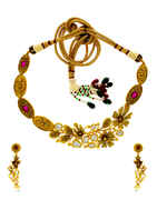 Matte Gold Finish Ruby Stone Kundan Necklace For Wedding