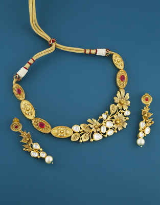 Matte Gold Finish Ruby Stone Kundan Necklace For Wedding