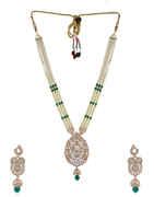 Rose Gold Finish Green Colour American Diamond Moti Necklace Fancy