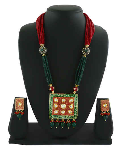 Multi Colour Gold Finish Kundan Pendant Set For Girls Fancy