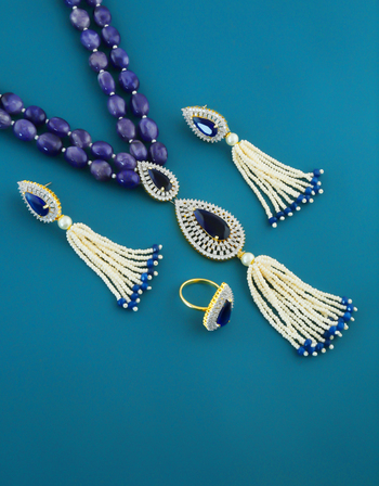 Purple Colour Silver Finish Beads Pendant With Finger Ring Set For Girls