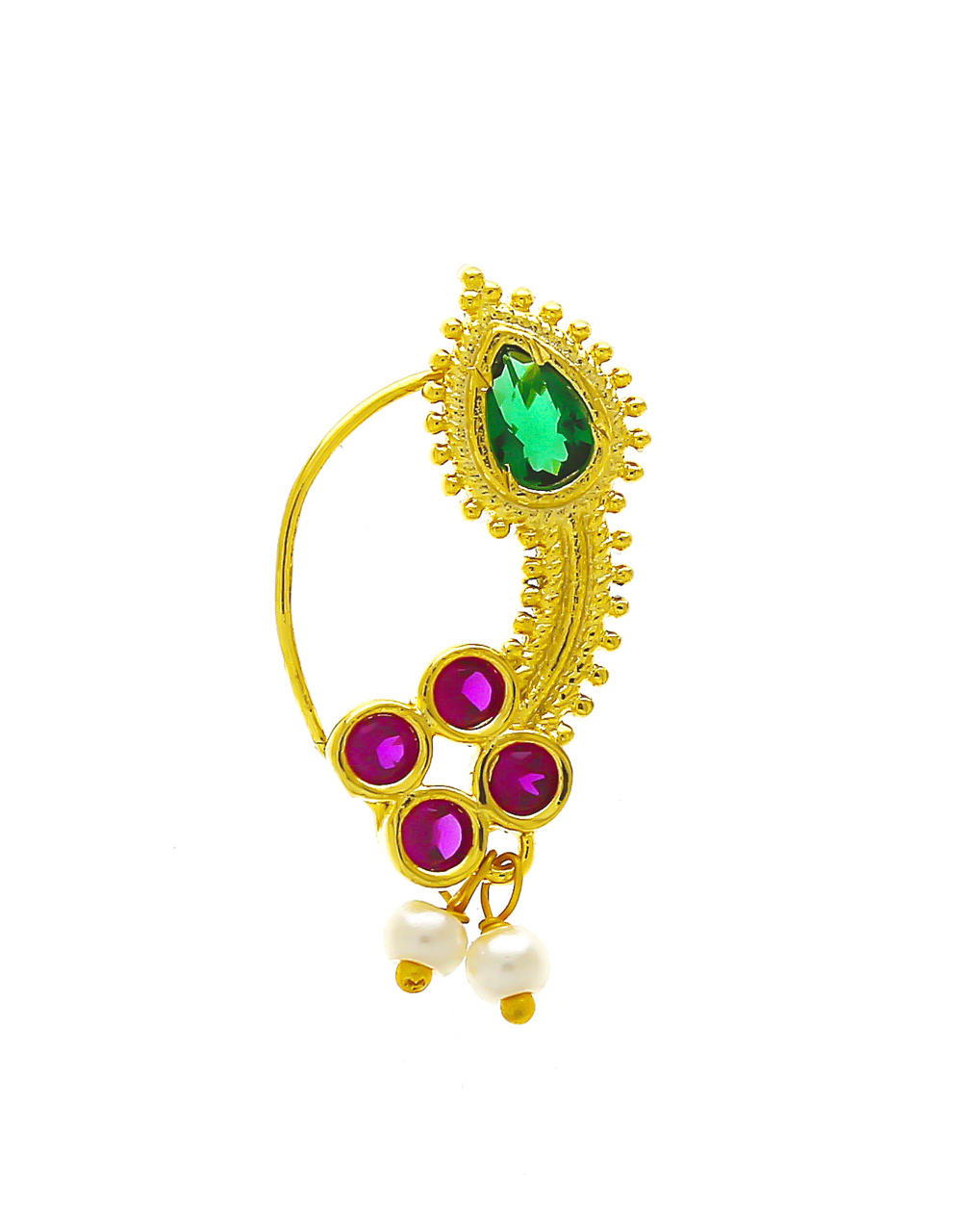 Multi Colour Gold Finish Pearls Styled Nath For Women