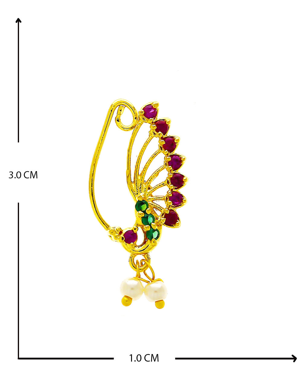 Multi Colour Gold Finish Pearls Styled Fancy Nath For Women