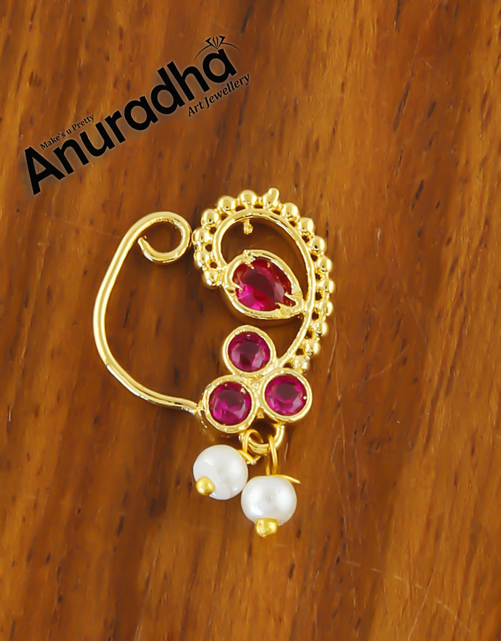 Simple Pink Colour Gold Finish Stunning Small Nath