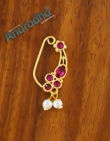 Fancy Pink Colour Gold Finish Nathani For Girls