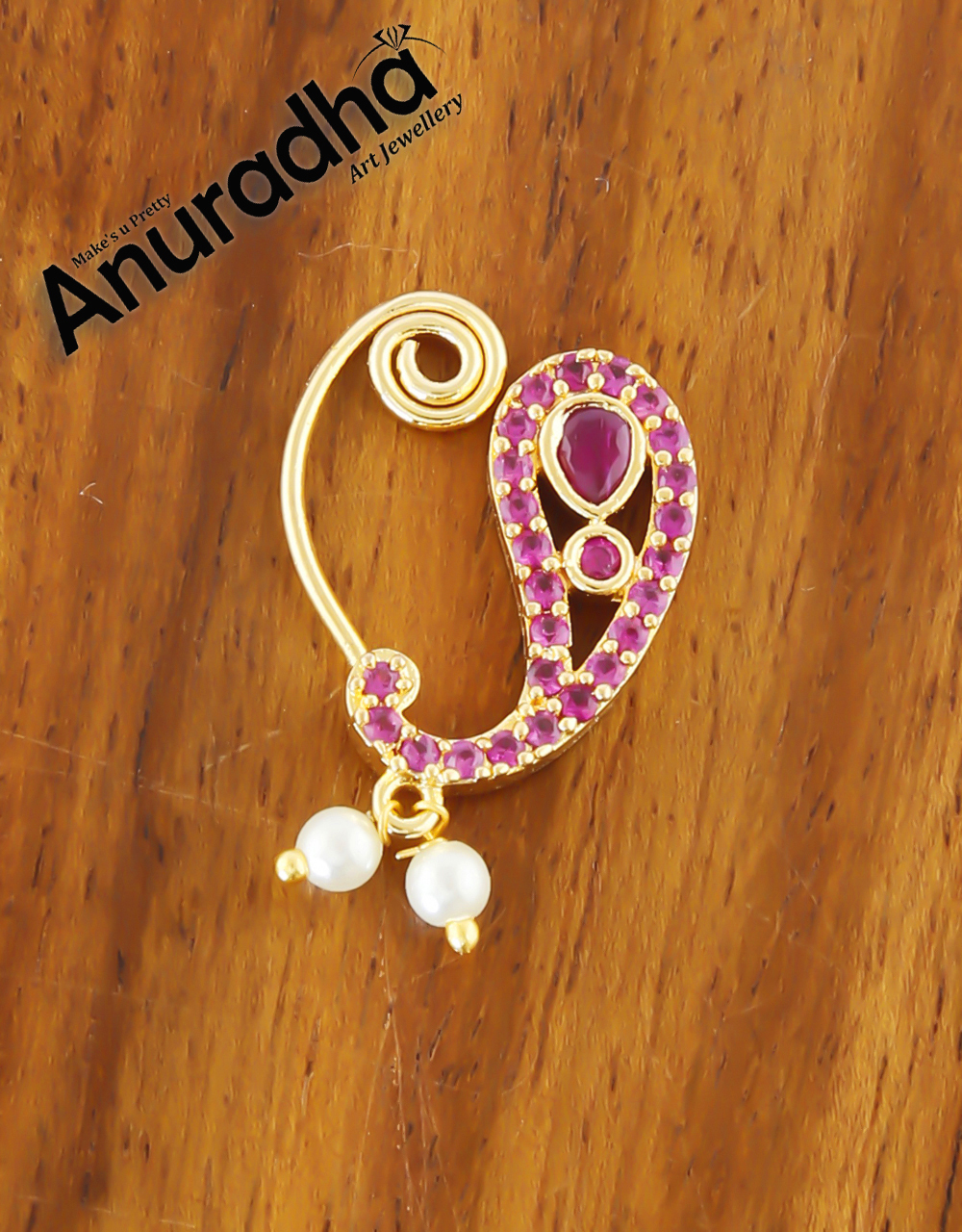 Pink Colour Gold Finish Moti Nath For Girls