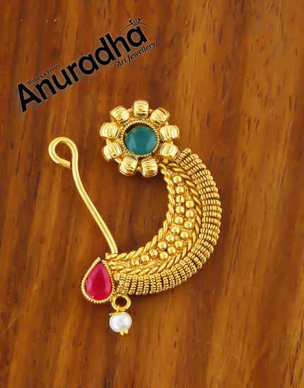 Multi Colour Antique Gold Finish Marathi Nath