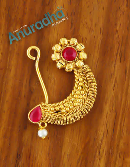 Red Colour Fancy Gold Finish Traditional Nath