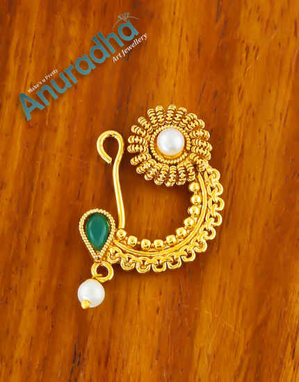 Green Colour Gold Finish Pearls Styled Nath