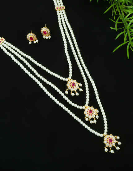 Pink Colour Gold Finish Ruby Moti Haar Necklace