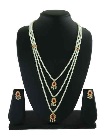 Maharashtrina Pink Colour Gold Finish Long Moti Necklace