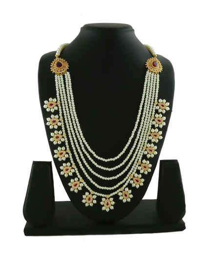 Designer Pink Colour Gold Finish Studded With Diamond Fancy Rani Haar