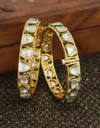 Simple Gold Finish Traditional Kundan Bangles For Women