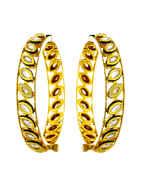 Designer Gold Finish Kundan Bangles Mina Work Bangles
