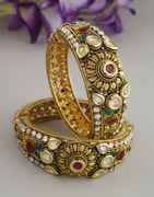 Multi Colour Studded With Polki Stones Kundan Bangles