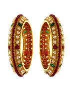 Multi Colour Gold Finish Styled With Stones Rajashtani Bangles Jewellery