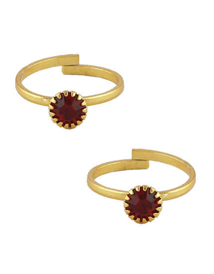 Red Colour Simple Gold Finish Toe Ring