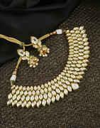 Designer Gold Finish Kundan Necklace For Bride