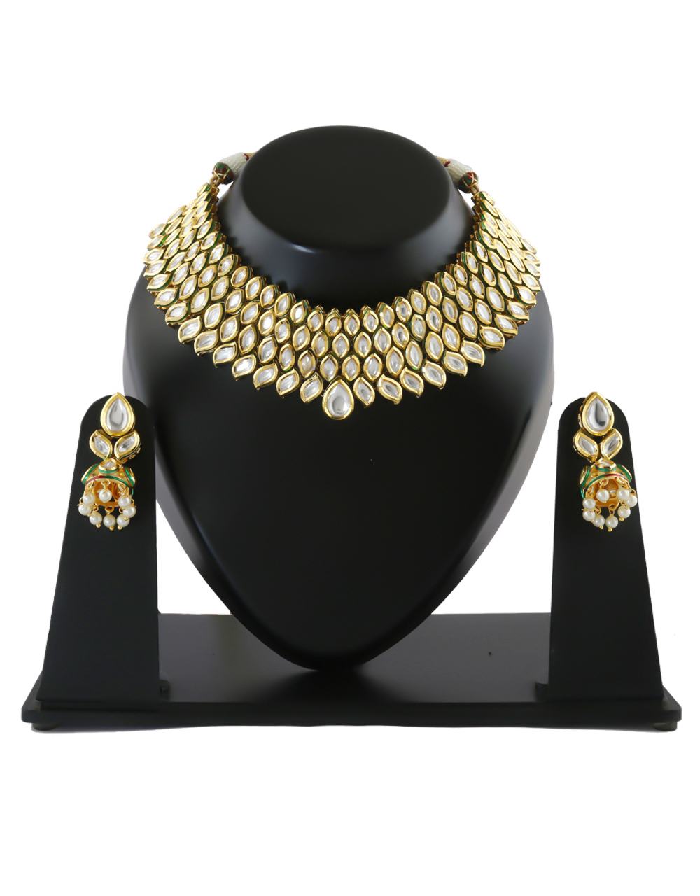 Designer Gold Finish Kundan Necklace For Bride