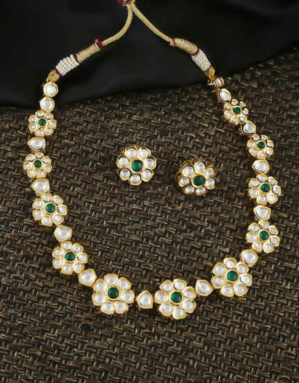 Green Colour Gold Finish Floral Design Kundan Necklace Jewellery