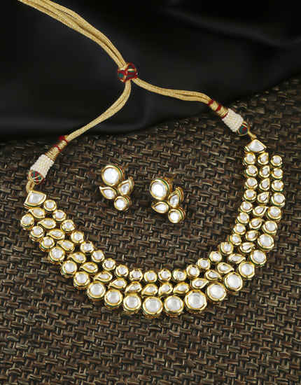 Fashionable Gold Tone Trendy Kundan Necklace Jewellery